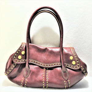 MAX NEW YORK Leather Handbag Brass Studds